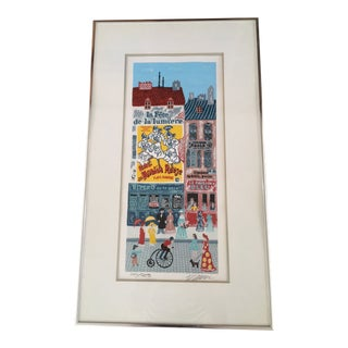 Josef Farhi Paris Street Scene Serigraph, Signed Limited Edition For Sale