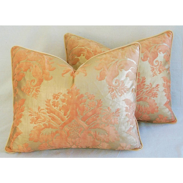 Italian Fortuny Glicine Gold Pillows - A Pair - Image 7 of 11