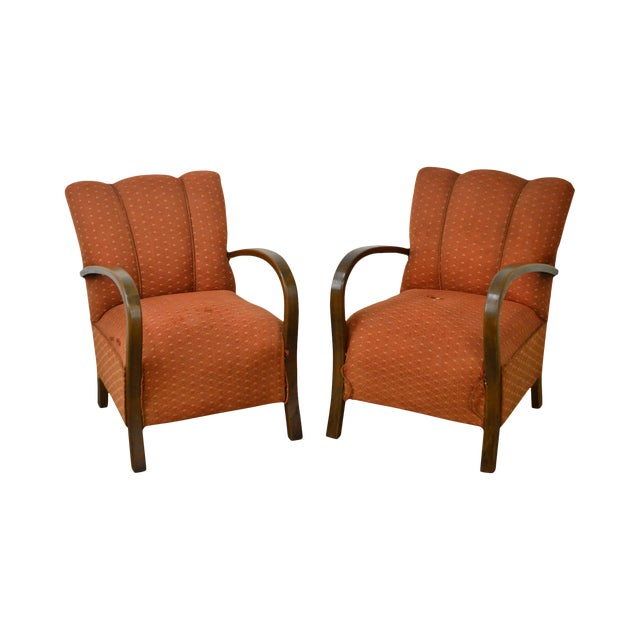 Art Deco Style Pair of Open Arm Lounge Chairs - Image 1 of 10