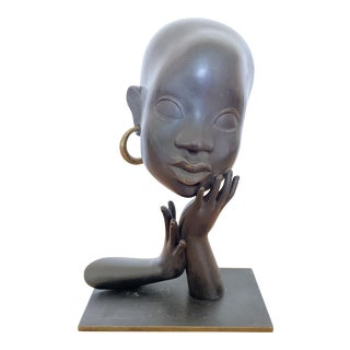 Early 1930s Karl Hagenaur First Edition African Bust Bronze Sculpture For Sale
