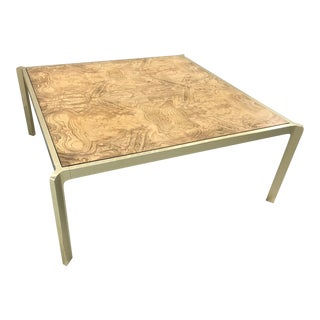 Vintage Brass and Burl Coffee Table