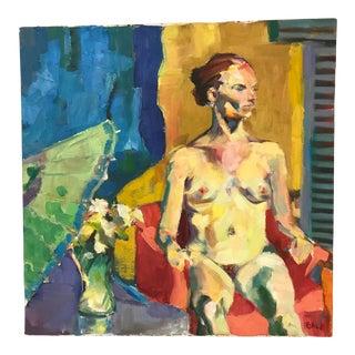 Vintage Nude Oil Portrait For Sale