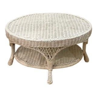 Oval Vintage Nantucket or Hamptons Style Wicker Two Tiered Coffee Table For Sale
