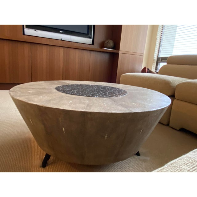 Wood R&Y Augousti Contemporary Shagreen Coffee Table For Sale - Image 7 of 11