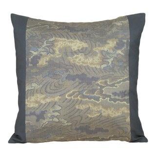Stormy Skies Japanese Silk Kasuri Kimono Pillow Cover For Sale