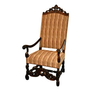 Vintage Carved Walnut Jacobean Style Throne Type Chair For Sale