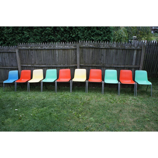 Vintage Columbia Mfg. Stacking Shell Chairs- Set of 10 For Sale - Image 12 of 12
