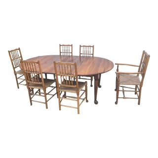 C. 1950 Stickley Original Cherry Dining Table Chair Set 6 Chairs For Sale