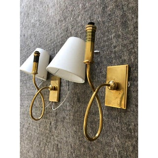 Waterworks Brass Blue Note Sconces With Shades - a Pair For Sale
