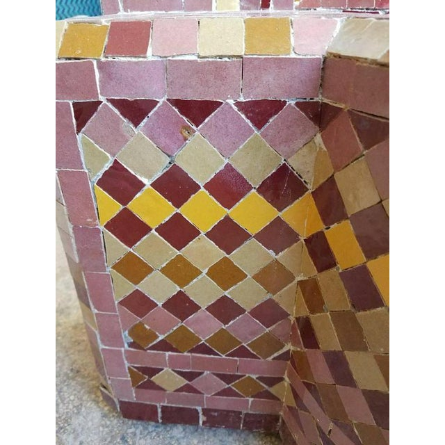 Islamic Moroccan Burgundy Multicolor Tile Fountain For Sale - Image 3 of 6
