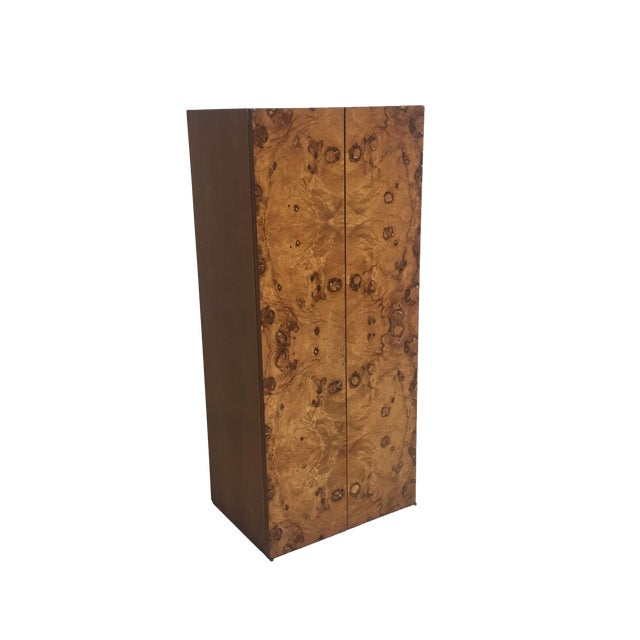 Mid Century Burled Wood and Teak Wall Hanging Cabinet - Image 1 of 7