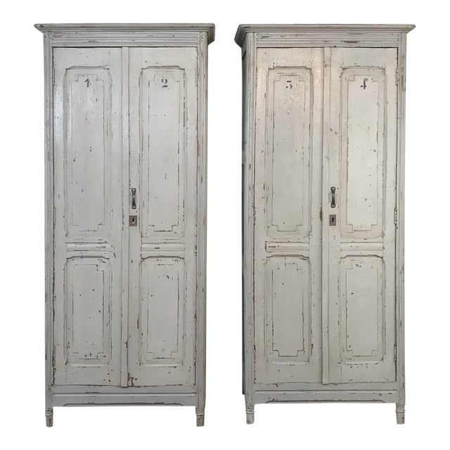 Pair Antique Painted Wooden Locker Cabinets For Sale