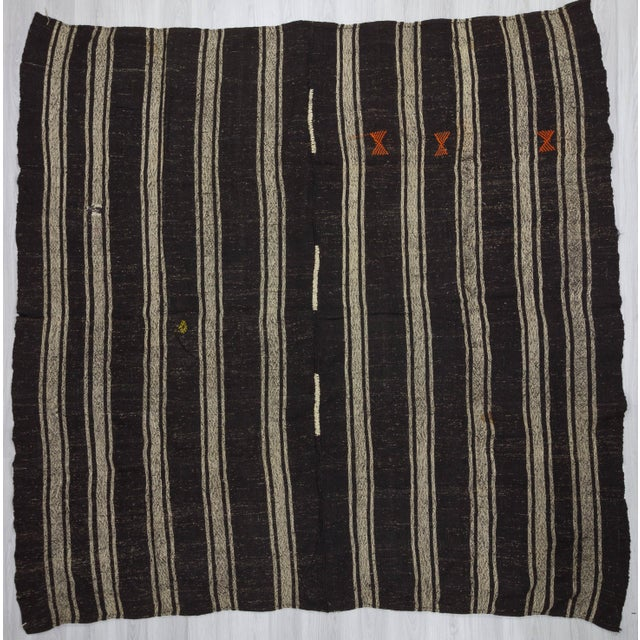1960's Vintage Kilim Black & Gray Striped Rug- 9′10″ × 10′ For Sale In Los Angeles - Image 6 of 6
