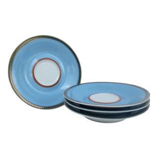"""Versace Rosenthal """"Les Tresors De La Mer"""" Porcelain & Gold Gilt Coffee Cup Espresso Under Plate Suacers - 4 Pieces For Sale"""