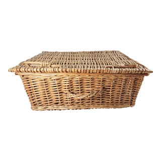 Vintage French Woven Suitcase Trunk Basket For Sale