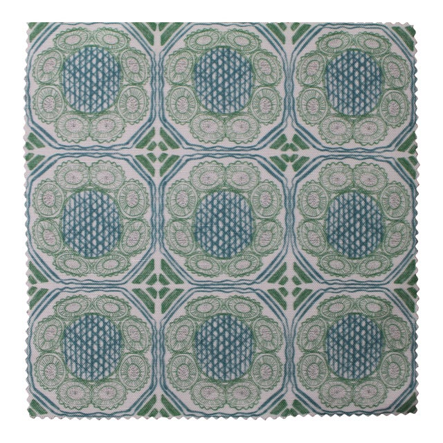 Hajarie Palm Basket Fabric, Sample, Teal in Linen & Cotton For Sale