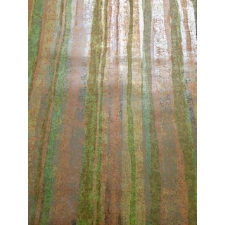 Vintage Satineque Wall-Tex Mid Century Wallpaper With Gold, Green, and Yellow Stripes - 1 Roll For Sale