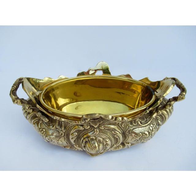 Vintage Brass Ornate Planter W/Brass Interior Liner For Sale - Image 9 of 13