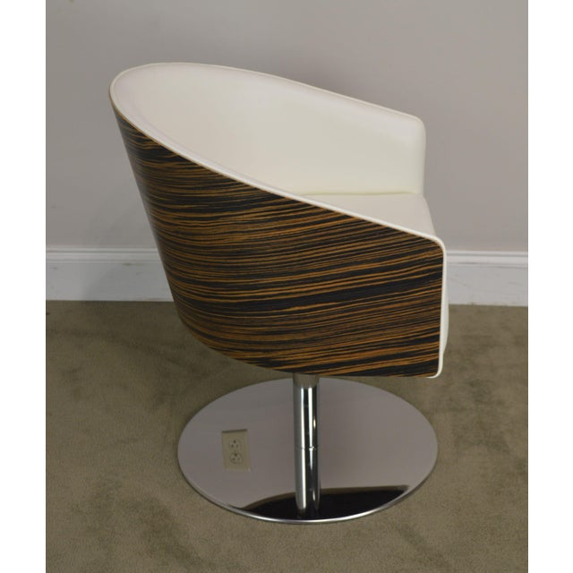 2010s White Leather & Zebra Wood Barrel Back Pair Chrome Pedestal Swivel Lounge Chairs by Cape (F) For Sale - Image 5 of 13