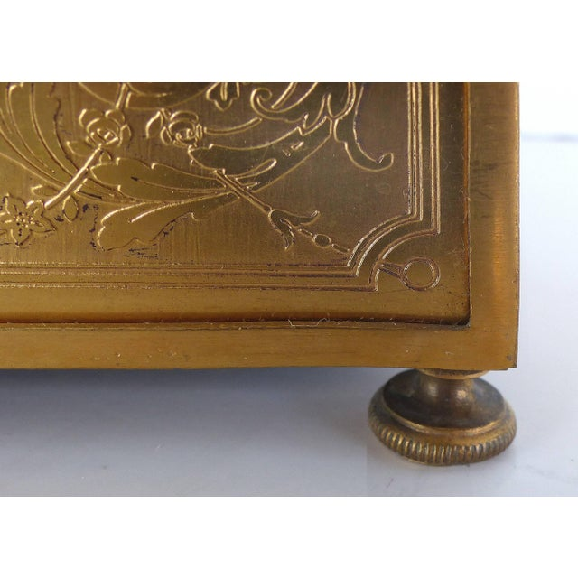 Gold 19th Century European Gilt Bronze Dresser Box With Enamel Plaque For Sale - Image 8 of 9