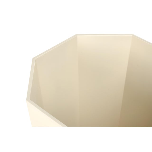Miles Redd Collection Octagonal Waste Basket in Ivory For Sale - Image 4 of 4