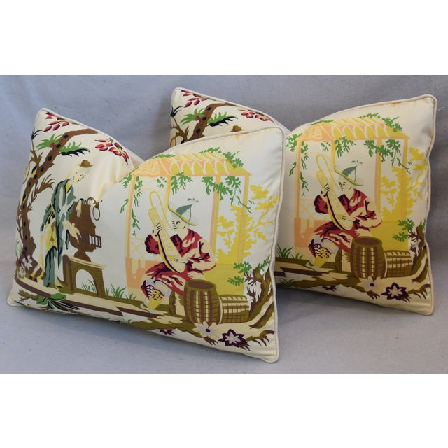 """Green Brunschwig Fils & Scalamandre Velvet Feather/Down Pillows 23"""" X 17"""" - Pair For Sale - Image 8 of 13"""