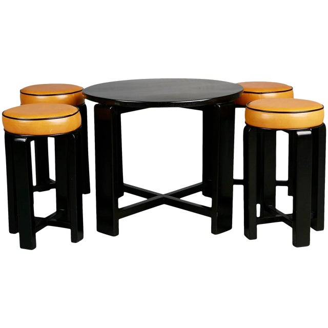 1940s French Art Deco Cocktail Nesting Table and Leather Stools Set For Sale