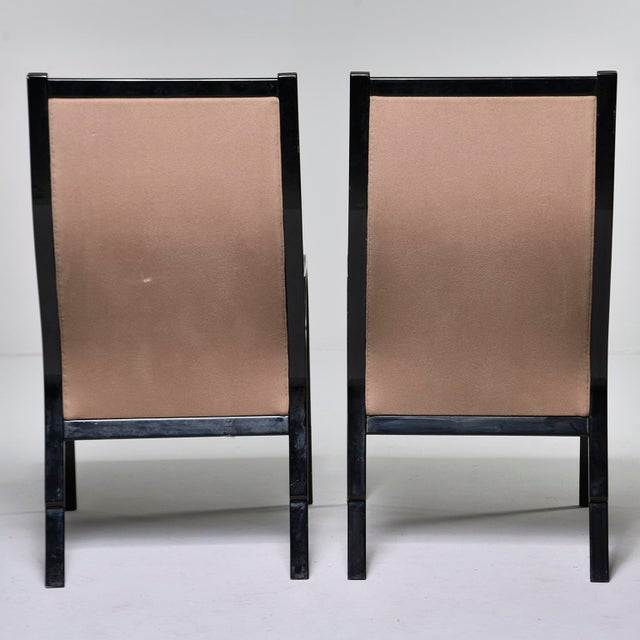 1960s Pair Mid Century Ebonised High Back Italian Armchairs For Sale - Image 5 of 10