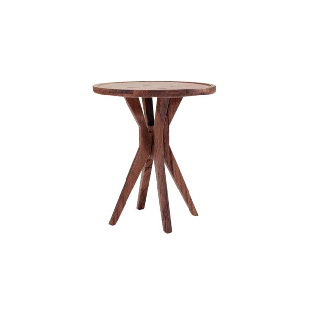 Boton Two Side Table in Conacaste Solid Wood For Sale