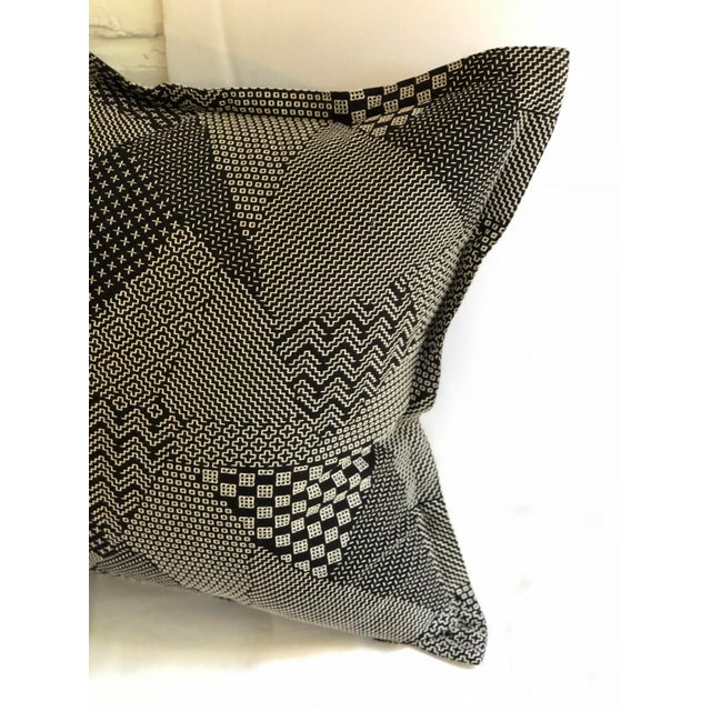"""2010s Pair of 20"""" Square Black and White Stitched Patchwork Pillows by Jim Thompson For Sale - Image 5 of 11"""