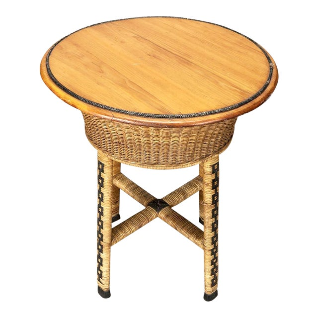 1920's Round Wicker Side Table - Image 1 of 4