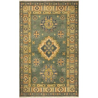 Kazak Benton Green & Ivory Hand-Knotted Wool Rug - 3′4″ × 4′11″ For Sale