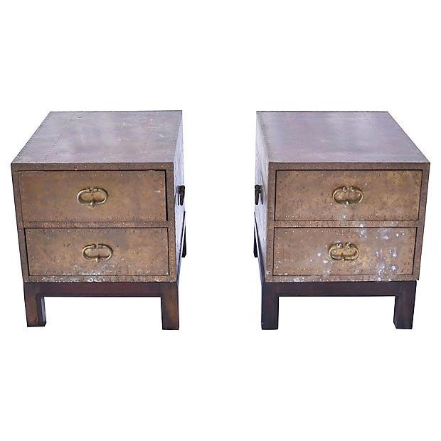 1970s Regency Brass 2-Drawer Chests - a Pair For Sale In Milwaukee - Image 6 of 6