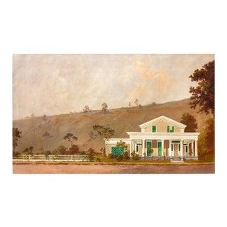 19th Century Texas Greek Revival Farm House Oil Painting For Sale