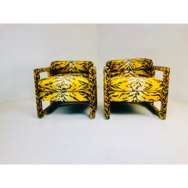 Textile Custom Tiger Print Milo Baughman Chairs For Sale - Image 7 of 13