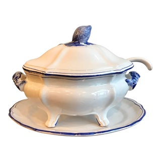 Blue and White Italian Soup Tureen For Sale