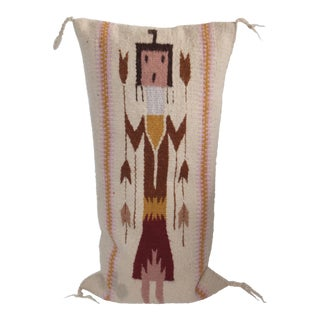 Maroon & Yellow Yei Figurative Pillow For Sale