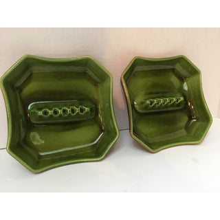 Vintage Ceramic Green Faux Wood Ashtrays - a Pair Preview
