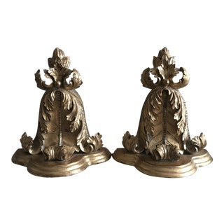 Mid-Century Hollywood Regency Golden Wall Shelves - a Pair For Sale