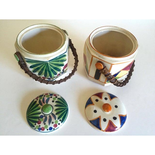 Ceramic Rare Vintage 1930's Art Deco Japan Hand Painted Porcelain Handled Ceramic Biscuit Barrel Jars - Set of 2 For Sale - Image 7 of 13