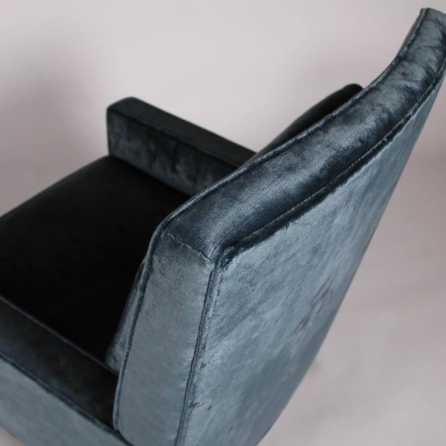 1950s Blue Velvet Lounge Chair and Ottoman For Sale - Image 9 of 11