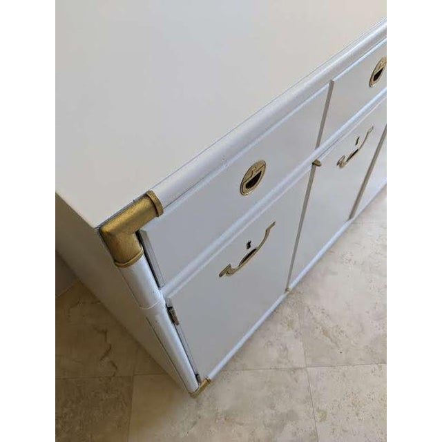 White 1970s Campaign Drexel Accolade White Credenza For Sale - Image 8 of 11