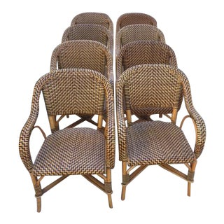 Woven Leather Bistro Dining Chairs - Set of 8