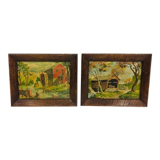 Vintage Rustic Paint by Number Country Scenes in Frames - a Pair For Sale