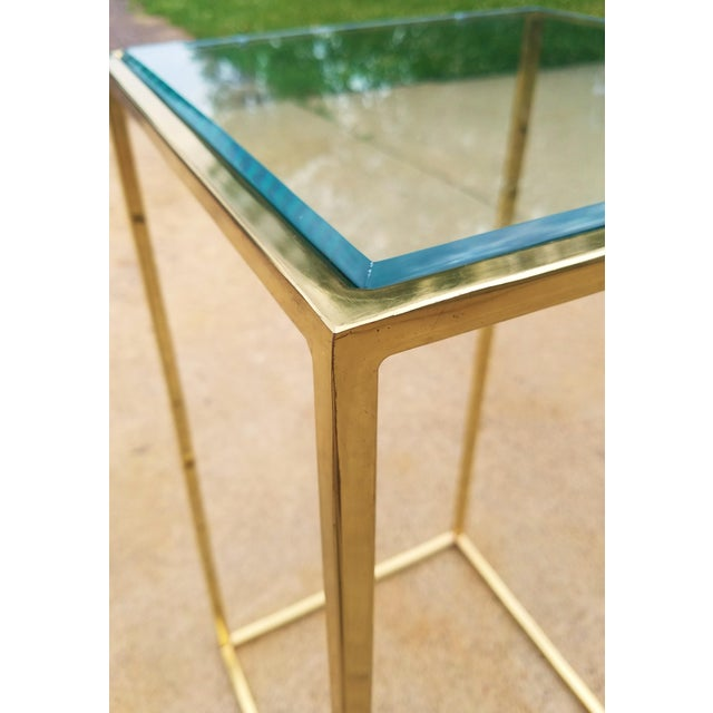 Milo Baughman Style Brass & Glass Pedestal Art Stand For Sale - Image 4 of 7