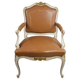 Antique Louis XV Style Brown Leather Chair For Sale