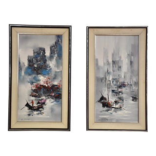 K. Fing Asian Impressionist Paintings - a Pair