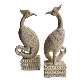 Pair of Hand-Carved Lime-Wash Finished Wooden Statuettes of a Peacocks C. 1960s For Sale