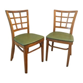 1940s Vintage Lattice-Back Dining Camp Wood Chairs- A Pair For Sale