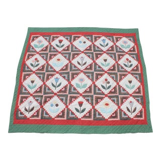 Mid-Century Hand Made Floral Log Cabin Applique Quilt For Sale